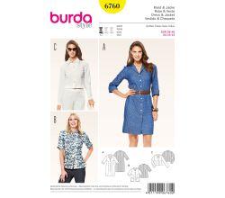 Strih Burda 6760 - Košeľové šaty, košele, krátke sako