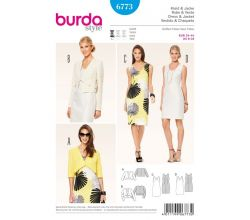 Strih Burda 6773 - Puzdrové šaty, bolerko, krátke sako
