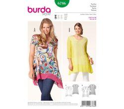Střih Burda 6786 - Tunika, tričko pro plnoštíhlé