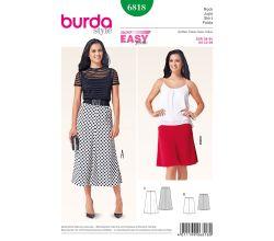 Střih Burda 6818 - Jednoduchá zvonová sukně, dlouhá sukně