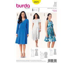 Strih Burda 6821 - Áčkové šaty, midi šaty, letné šaty