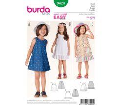 Střih Burda 9420 - Dětské áčkové šaty s kapsami