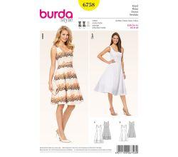 Strih Burda 6758 - Princess šaty na ramienka, retro šaty