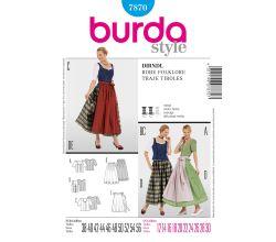 Střih Burda 7870 - Krojová sukně, krojová zástěrka, krojová halenka