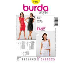 Střih Burda 7972 - Jednoduché pouzdrové šaty, top