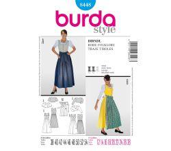 Strih Burda 8448 - krojové šaty, krojová zásterka, krojová blúzka