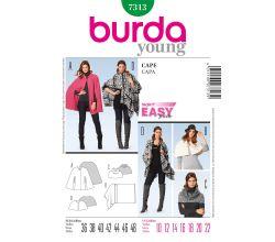 Strih Burda 7313 - Jednoduchý plášť, prehoz