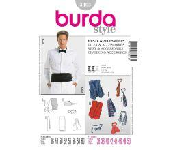 Střih Burda 3403 - Pánská vesta, kravata, motýlek, šál, smokingový pás