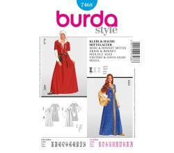 Střih Burda 7468 - Středověké šaty a čepec
