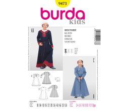 Strih Burda 9473 - Detské stredoveké šaty, čepiec