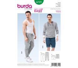 Střih Burda 6719 - Pánské tepláky, šortky, kraťasy