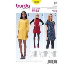 Střih Burda 6721 - Áčkové šaty, mini šaty, šaty s kapsami