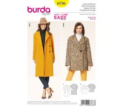 Strih Burda 6736 - Jednoduchý kabát, krátky kabát