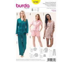 Střih Burda 6742 - Dámské pyžamo, noční košile