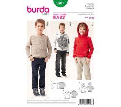 Strih Burda 9407 - Jednoduchá detská mikina, sveter