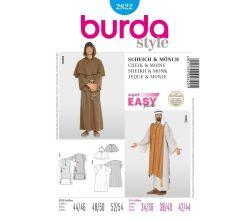 Střih Burda 2822 - Šejk, mnich, kaftan, kutna