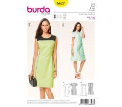 Strih Burda 6627 - Áčkové šaty, šaty Etui