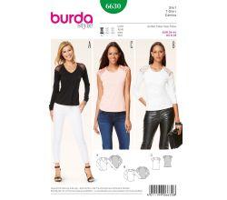 Strih Burda 6630 - Tričko, tričko s dlhým rukávom