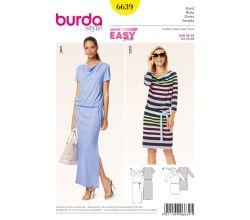 Strih Burda 6639 - tričkové šaty, šaty s vodou