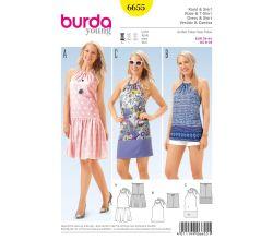 Střih Burda 6655 - Letní šaty za krk, top za krk