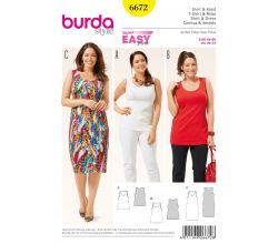 Střih Burda 6672 - Tílko, tílkové šaty pro plnoštíhlé