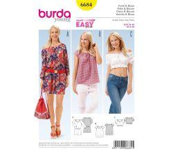 Strih Burda 6684 - Jednoduché letné šaty, blúzka Carmen