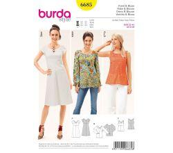 Strih Burda 6685 - Empírové šaty, blúzka