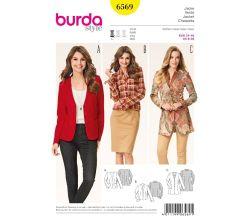 Střih Burda 6569 - Sako, krátké sako, dlouhé sako, sportovní sako