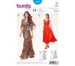 Střih Burda 6583 - Empírové šaty, dlouhé plesové šaty
