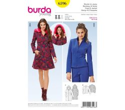 Strih Burda 6596 - Dlhá bunda s kapucňou, bunda so stojačikom