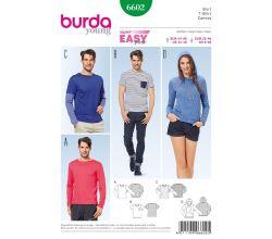 Strih Burda 6602 - Jednoduché tričko, tričko s kapucňou, tričko s dlhým rukávom, pánske tričko