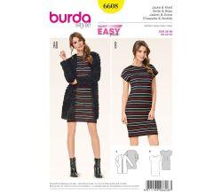 Strih Burda 6608 - tričkové šaty, jednoduchý kabátik
