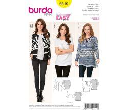 Strih Burda 6610 - Jednoduché tričko, tunika, blejzer