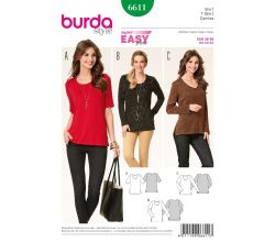 Strih Burda 6611 - Jednoduché tričko, dlhšie tričko