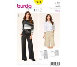 Střih Burda 6613 - Kalhoty se širokými nohavicemi, bermudy