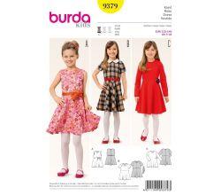 Strih Burda 9379 - Detské šaty s kolovou sukňou