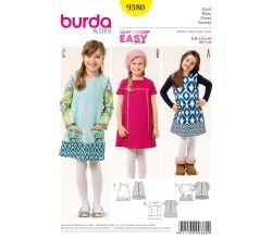 Strih Burda 9380 - Detské áčkové šaty