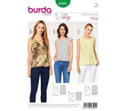 Střih Burda 6501 - Jednoduchý top, tílko