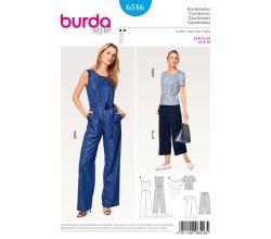 Střih Burda 6516 - Overal a kalhoty se širokými nohavicemi, top peplum