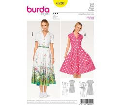 Strih Burda 6520 - Košeľové šaty, letné šaty, retro šaty