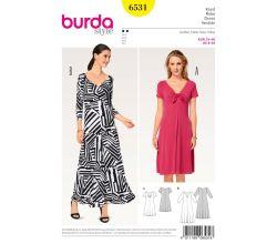 Střih Burda 6531 - žerzejové šaty, dlouhé letní šaty