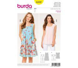 Strih Burda 6532 - Blúzka, letné šaty, balónové šaty