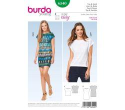 Střih Burda 6540 - Jednoduché tričkové šaty, tričko