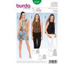 Střih Burda 6541 - Jednoduché letní šaty bez rukávů, tílko, top