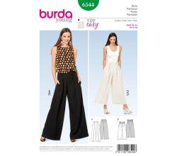 Střih Burda 6544 - Kalhoty se širokými nohavicemi, široké kalhoty, letní lněné kalhoty