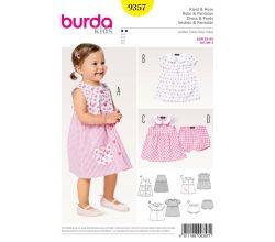 Střih Burda 9357 - Dětské propínací šaty s límečkem, kalhotky