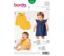 Střih Burda 9358 - Dětské áčkové propínací šaty, halenka, kalhotky