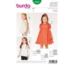 Střih Burda 9362 - Dětská halenka, nabírané šaty
