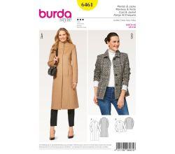 Strih Burda 6461 - Dlhý kabát so stojačikom, krátky kabát, sako