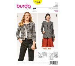 Strih Burda 6465 - Francúzsky kabátik, krojové sako, sako bez goliera